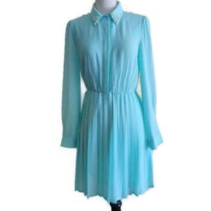 Light Blue Long Sleeve Sheer Pleaded Dress Forever